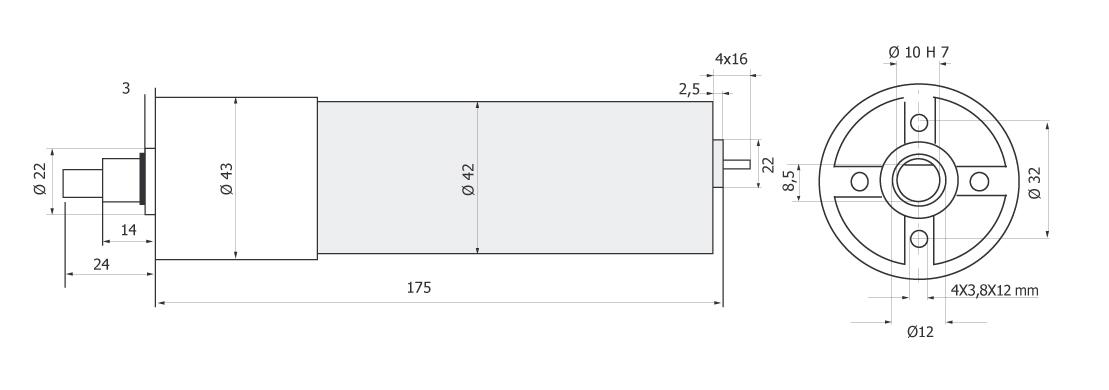 Планетарный мотор - редуктор MR 742 43 чертеж BERNIO