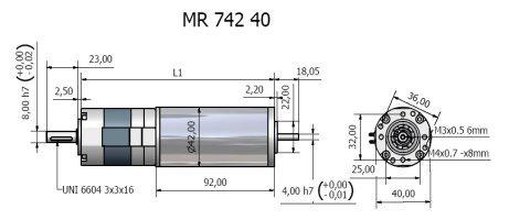 Планетарный мотор - редуктор MR 742 40 BERNIO