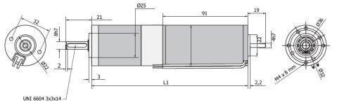 Планетарный мотор - редуктор MR 742 42 чертеж BERNIO