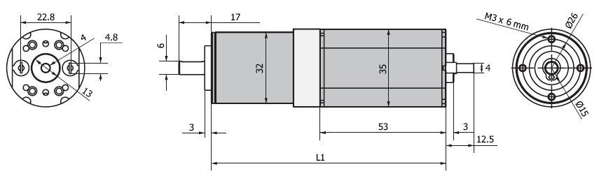Планетарный мотор - редуктор MR 735 32 чертеж BERNIO