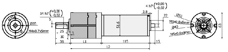 Планетарный мотор - редуктор MR 752 L 63 чертеж BERNIO