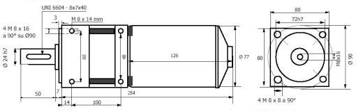Планетарный мотор - редуктор MR 977 80 Q чертеж BERNIO