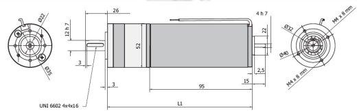 Планетарный мотор - редуктор MR 752 52 чертеж BERNIO