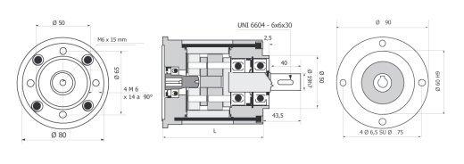 Редуктор для установки на флянец R80 63 B 14 чертеж BERNIO