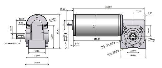 Червячный мотор - редуктор MVSF 752 26 чертеж BERNIO