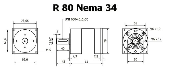 Редуктор R 80 Nema 34 чертеж BERNIO