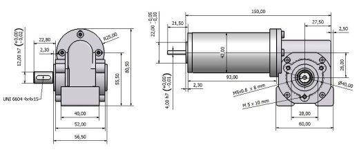 Червячный мотор - редуктор MVSF 742 26 чертеж BERNIO