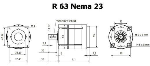 Редуктор R 63 Nema 23 чертеж BERNIO