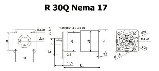 Редуктор R 30 Q Nema 17 чертеж BERNIO