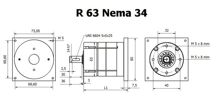 Редуктор R 63 Nema 34 чертеж BERNIO