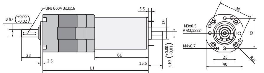 Планетарный мотор-редуктор MR 737 40 чертеж BERNIO